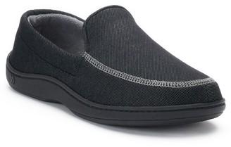 Isotoner Men's Chandler Knit Twill Hoodback Moccasin Slippers