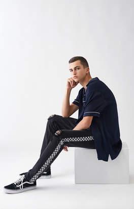 Pacsun Skinny Comfort Stretch Destroy Side Stripe Black Jeans