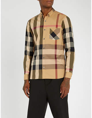 Burberry Thornaby checked slim-fit cotton-blend shirt