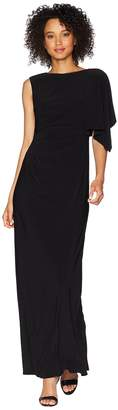 Adrianna Papell One Shoulder Jersey Gown with Draped Bodice Women's Dress