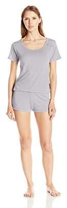 Bottoms Out Women's Short Modal Sleeve Tee Lace Trim Sleep Set