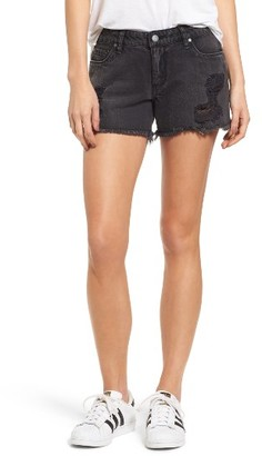 Women's Sun & Shadow Fray Hem Denim Shorts $49 thestylecure.com