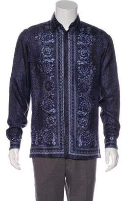 Versace Silk Print Button-Up Shirt