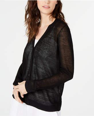 Eileen Fisher Organic Linen Semi-Sheer Cardigan