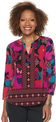 Dana Buchman Petite Knit Henley Top