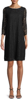Karl Lagerfeld Paris 3/4-Sleeve Lace Shift Dress