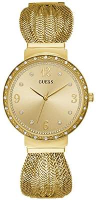 GUESS Crystal Accented -Tone Stainless Steel Mesh Bracelet Watch. Color: -Tone (Model: U1083L2)