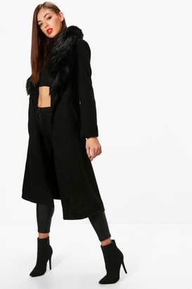 boohoo Detachable Faux Fur Collar Wool Look Coat