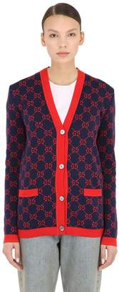 Gucci LOGO INTARSIA COTTON KNIT CARDIGAN