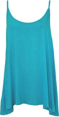 Roland Mouret Fashions Womens Ladies Plain Plus Size Sleeveless Swing Vest Strap Cami Camisole Tank Top (, Rose & Skull)