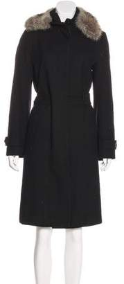 Alexander McQueen Fur-Trimmed Knee-Length Coat