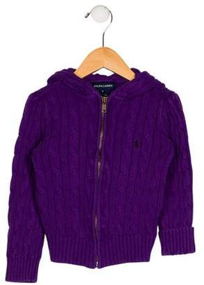 Ralph Lauren Girls' Hooded Knit Cardigan