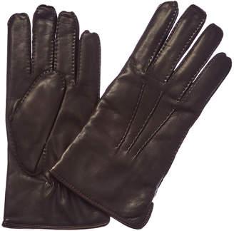Portolano Men's Brown Cashmere-Lined Leather Gloves
