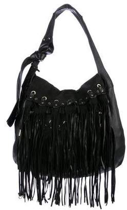 Jimmy Choo Fringe-Trimmed Leather Hobo