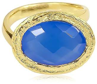 Saachi Tone Oval Blue Chalcedony Oval Asymmetrical Ring