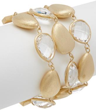 Rivka Friedman 18K Clad Rock Crystal Toggle Bracelet