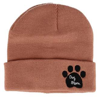 David & Young Women's Dog Mom Knit Beanie Cuff Cap with Paw Print