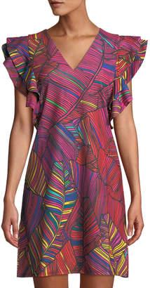 Catherine Malandrino Multicolor Fern-Print Shoulder-Ruffle Dress