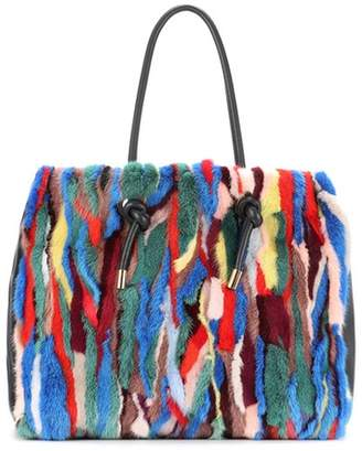 Marni Mink fur and leather tote
