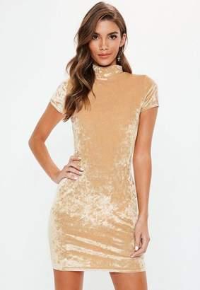 Missguided Mink Crushed Velvet Cap Sleeve High Neck Mini Dress
