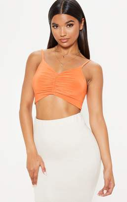 PrettyLittleThing Orange Ruched Front Slinky Crop Cami