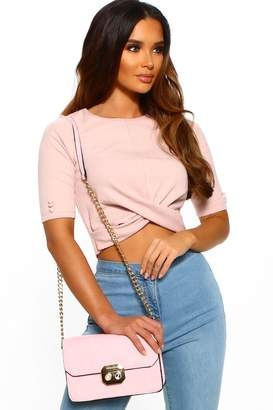 7f7c2fd7c84 Pink Boutique Not Into You Pink Ribbed Crop Top