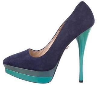 Versace Suede Pointed-Toe Platform Pumps