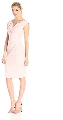 Adrianna Papell Women's Petite Pleated Surplus V-Neck Sheath Dress