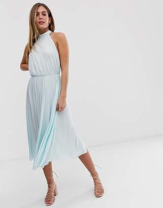 Asos Design DESIGN Halter Pleated Waisted Midi Dress