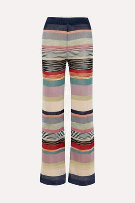 Missoni Striped Metallic Crochet-knit Wide-leg Pants - Blue