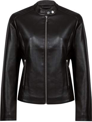 Dorothy Perkins Womens Black Faux Leather Collarless Biker Jacket