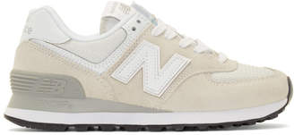 New Balance White and Grey 574 Core Sneakers