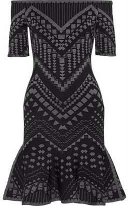 e40b1e167ff2 Herve Leger Off-the-shoulder Jacquard-knit Mini Dress