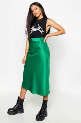 dcb28ca35017 boohoo Satin Bias Cut Slip Midi Skirt