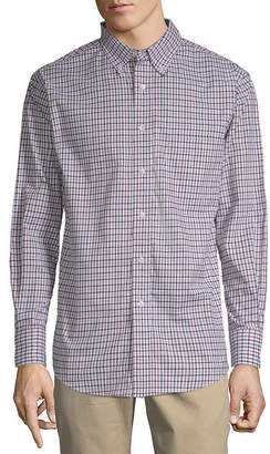 Haggar Long Sleeve Plaid Button-Front Shirt-Big and Tall