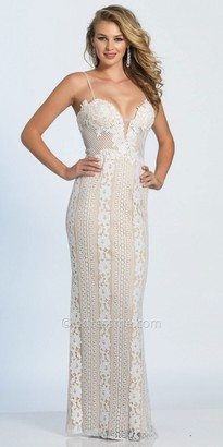 Dave and Johnny Plunging Sweetheart Spaghetti Strap Lace Prom Dress $250 thestylecure.com