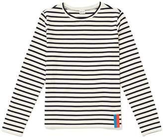 Kule Cream Navy The Modern Long Sleeves Shirt - S - White/Marble/Blue