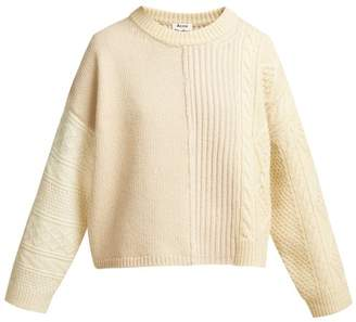 Acne Studios Patchwork Cable Knit Wool Sweater - Womens - Cream
