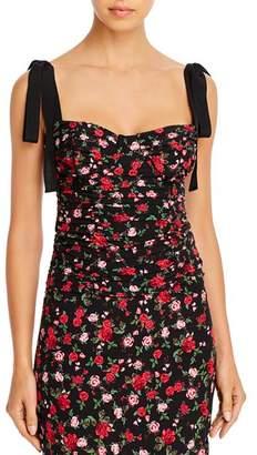For Love & Lemons Rose-Print Bustier Top