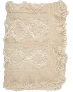 Adrienne Landau Rabbit Fur & Knit Throw - Cream