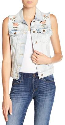 Driftwood Floral Embroidered Frayed Denim Vest