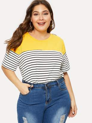 Shein Plus Color-block Striped Tee