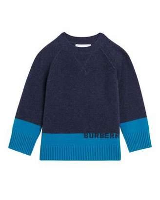 Burberry Alister Colorblock Cashmere Sweater, Size 4-14