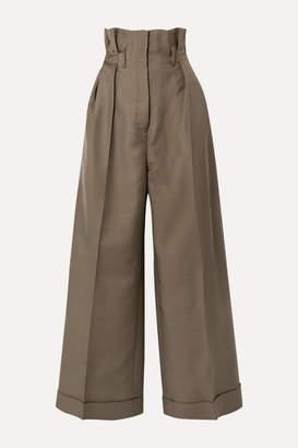 Acne Studios Perrie Wool-blend Twill Wide-leg Pants - Army green
