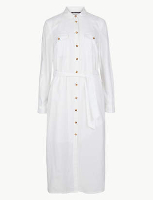 Marks and Spencer Long Sleeve Shirt Midi Dress