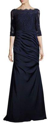 La Femme 3/4-Sleeve Lace & Jersey Gown, Navy $610 thestylecure.com