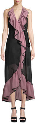 MISA Los Angeles Domanik Ruffle Halter Chiffon Wrap Dress