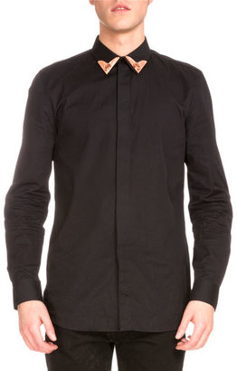 Givenchy Copper-Tip Long-Sleeve Shirt, Black $960 thestylecure.com