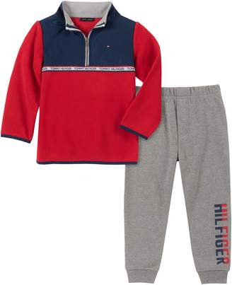 Tommy Hilfiger Baby Boy's 2-Piece Fleece Sweater Cotton-Blend Fleece Jogger Pants Set