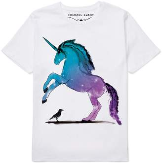 Michael Gurhy Unicorn & Crow White Organic Cotton T-Shirt